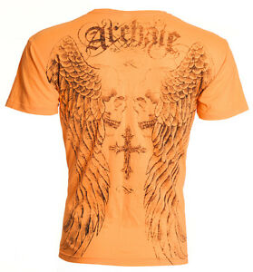 Archaic-AFFLICTION-Mens-T-Shirt-BLASTER-Skull-Cross-Tattoo-Biker-M-4XL-40