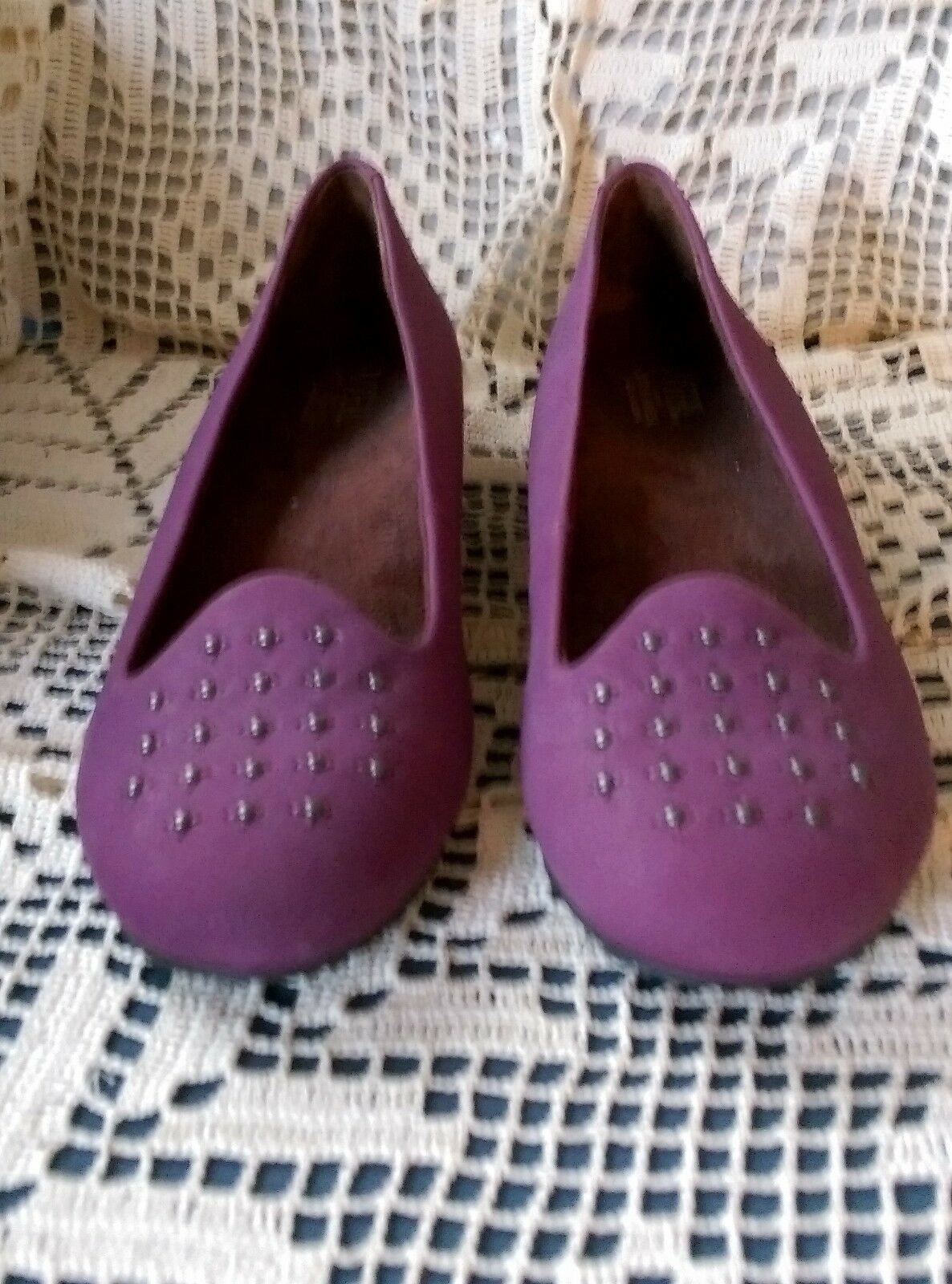 WEIL Orthaheel Technology NEW 7.5M / 38.5 leather flat SHOES NWOB plum purple