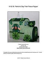 St. Patrick's Day Train Tissue Topper-Leprechaun-Plastic Canvas Pattern or Kit