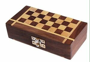 Wooden-Handmade-Foldable-Travel-Chess-Board-With-Storage-Portable-Set-6-034-x-6-034
