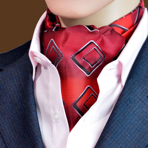 LJ11-04 NWT Red Geometric Plaids Men 100/% Silk Ascot Tie Cravat Accessory Ties