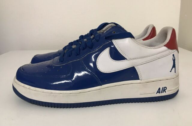 Nike Air Force 1 Low Rasheed Wallace Patent Leather Mens Sz 10 Blue White Red