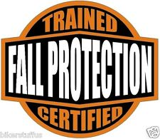 Fall Protection Trained Sticker Orange And Black Hard Hat Sticker