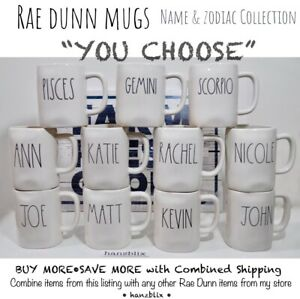 "Rae Dunn Mug ""YOU CHOOSE"" Name & Zodiac Collection JOHN MARY PISCES NEW '19-21"