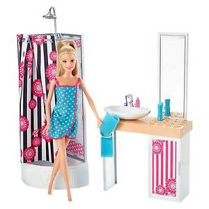 Mattel Import Wire Transfer Cfb61 Barbie Doll And Bathroom Furniture Set