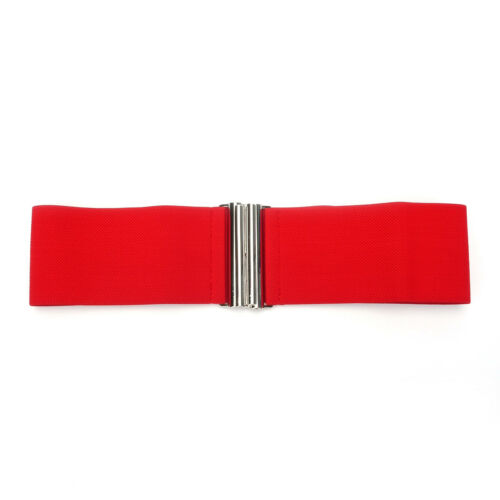 Shining Silver Buckle 3 Inch Wide Women Stretch Elastic Waist Belt Red US