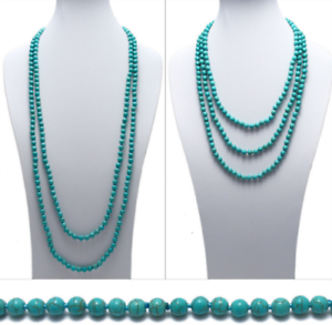 Genuine-Natural-Turquoise-80-034-Long-8mm-Bead-Stranded-Necklace