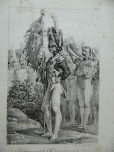 Litografia Charlet Granatieri Per Piede Grande Tenuta F.Delpeche N° 3 Ca 1819