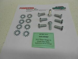 1955-1956-1957-Chevy-20-284RP-DOOR-HINGE-to-BODY-Cowl-BOLTS-New