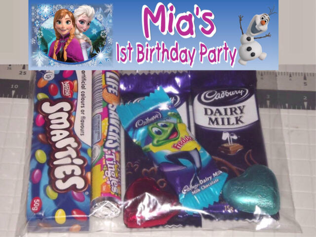 12 Personalised Birthday Party Lolly / Loot Bags  with Frozen Anna Elsa Design