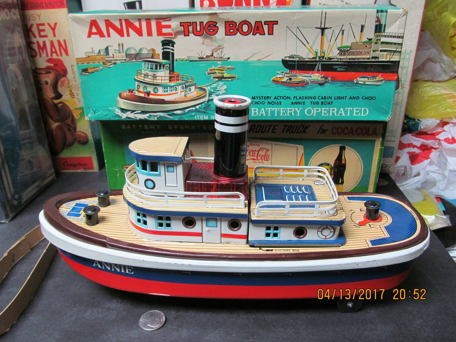 ANNIE TUG BOAT BATTERY OPERATED IN BOX 1950's MADE IN JAPAN WORKS EXCELLENT RARE