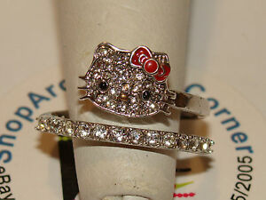 c73e02918 Hello Kitty SANRIO 925 Czech Crystals Flat Pave Face Red Bow Spiral ...