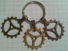 ANTIQUE GOLD/BRONZE COPPER  PLT3 COGGS ON BAIL+KEY RING FOR HANDBAG or PENDANTS