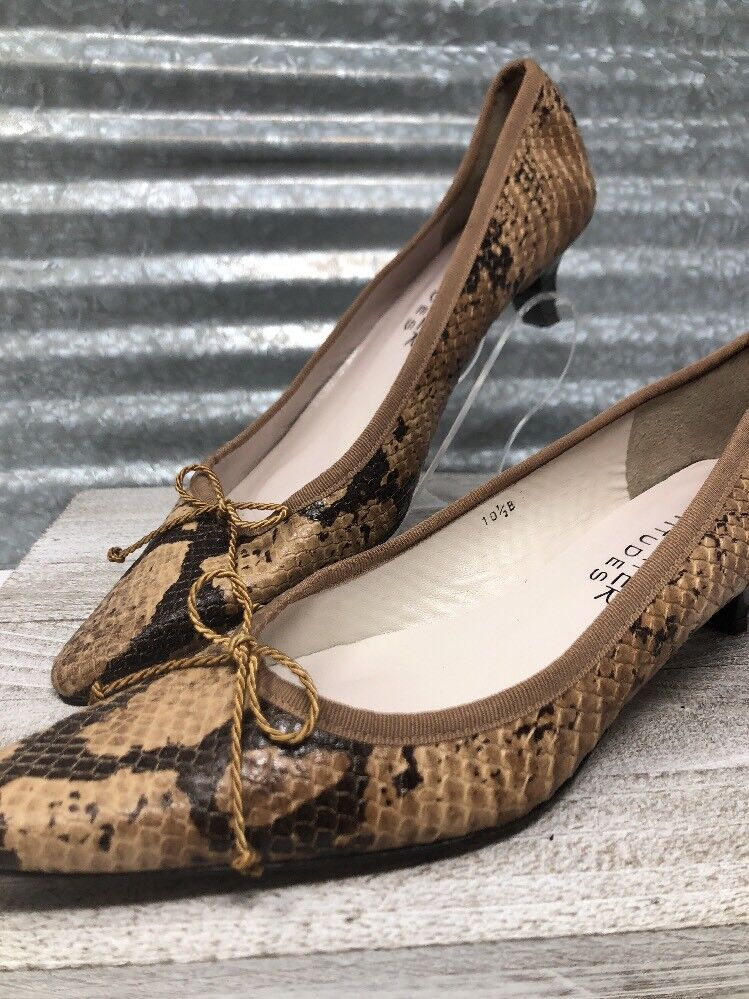 Paul Mayer Attitudes Snake Print Leather Slip on Women Tan & Brown Made in Spain