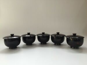 Japanese-Wooden-Sencha-Tea-Cup-Vintage-5pc-Lidded-Lacquer-Ware-Black-Z103