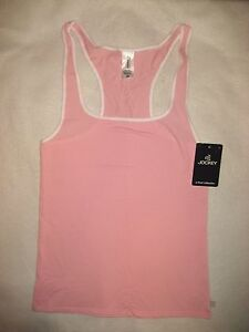 7b31275a9ac Details about Jockey Women's Cotton Stretch Pink Racerback Tank Top - Size  L - NWT