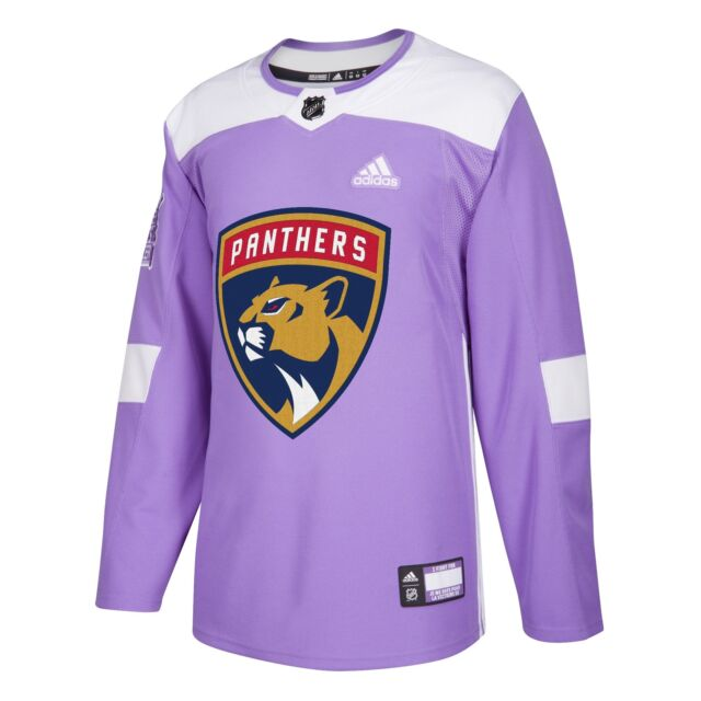 2597ae67839 Hockey Fights Cancer Florida Panthers Purple 255J Adidas NHL Authentic Pro  Jerse