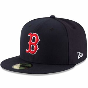 77ae4d004de89 BOSTON RED SOX B New Era 5950 Navy MLB Cap Fitted On Field Game Hat ...