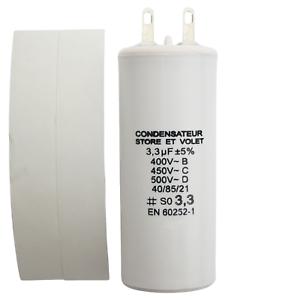 Condensateur 3.3 uF (3,3 µF) pour moteur SOMFY ou SIMU de volet roulant ou store