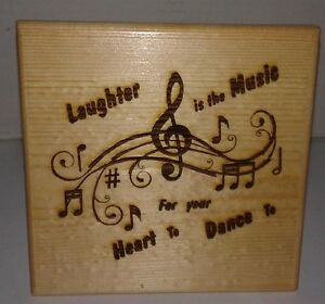 Details About Laughter Is The Music   Wood Burning Art Picture Pyrography