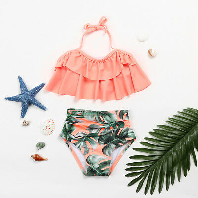 Toddler Kid Baby Girls Ruffles Tankini Swimwear Swimsuit Bikini Set Bathing Suit