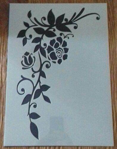 Shabby Chic Stencil A3 Rose and leaf angle for wall furniture french 420x297mm