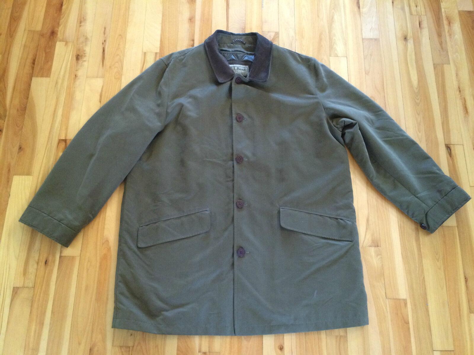 LL BEAN para hombre Talla XL verde militar con cuello de piel Abrigo Chaqueta Granegro de campo Forrado Usado En Excelente Condición