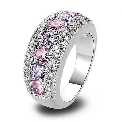 Women Pink Topaz Tourmaline Gems Nice Silver Ring Size 6 7 8 9 10 11 12 13 Gift