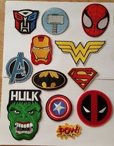 Superhero-Movie-Iron-On-Sew-On-Patches-Badges-Transfers-Fancy-Dress-Brand-New