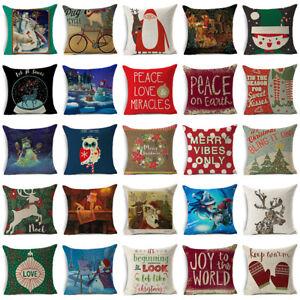Navidad-Navidad-Funda-para-Almohadon-Algodon-lino-Cubierta-Cojin-Cobertor-Sofa-regalo-Decoracion-De