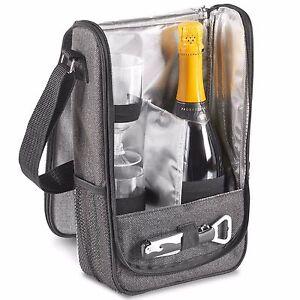 Details About Vonshef 2 Person Grey Picnic Wine Carrier Bag Includes Gl Cork