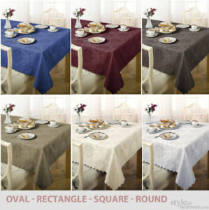 Details About Damask Floral Jacquard Tablecloth In Various Colours, Shapes  U0026 Sizes