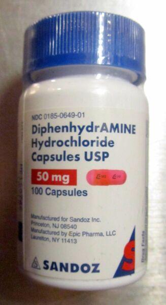 Sandoz Diphenhydramine 50mg Capsules Sleep Aid Generic Benadryl 100 Count