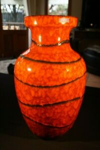 Stunning-Ex-Large-Vintage-West-German-Fat-Lava-Vase