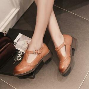 Hot Brogue Womens T Strap Flats Mary Jane Cut Out Oxfords Lolita ...