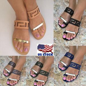 5c83af3fc6 US Womens Summer Flat Slip On Flip Flops Sandals Thong Slippers ...