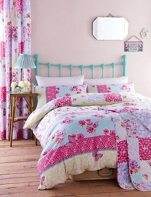 Gypsy Patchwork Duvet Quilt Cover Set, Reversible, Single Double King Butterfly
