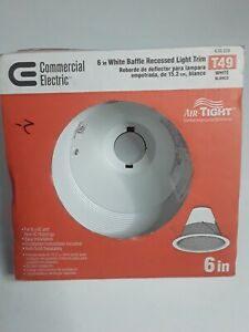 """NEW Commercial Electric 6"""" 6 inch White Baffle Recessed Air Tight Light Trim T49"""