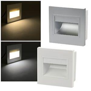 led wandeinbauleuchte 230v 1 5w 110lm stufenlicht stufenleuchte einbauleuchte ebay. Black Bedroom Furniture Sets. Home Design Ideas