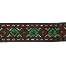 "7/8"" (23mm) Dark Red,Green,Black & Met Gold Geometric Jacquard Ribbon x 1 yard"