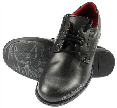 boys black leather red tape wooler rounded toe lace up