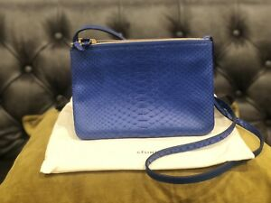 03dc60d40343 Image is loading 100-Authentic-NEW-Authentic-Celine-Trio-Blue-Snakeskin-