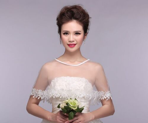 Elegant Bridal Shawl Wedding Dress Accessories Wrap Top Lace Tull Shrug Jacket