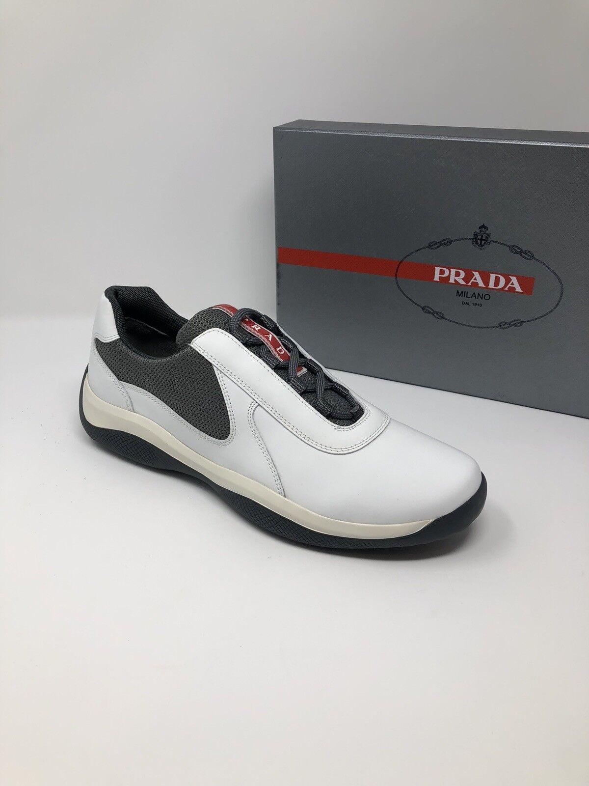 New PRADA Mens White Sneakers shoes Size 8.5 US 7.5 EU