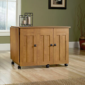 New Sauder Sewing Craft Storage Cabinet Cart Table, Amber Pine ...