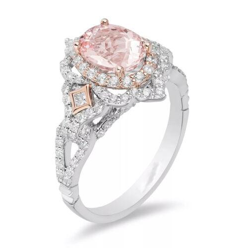 1.80 CT Pink Oval Cut Diamond Enchanted Disney Wedding Ring 925 Sterling Silver