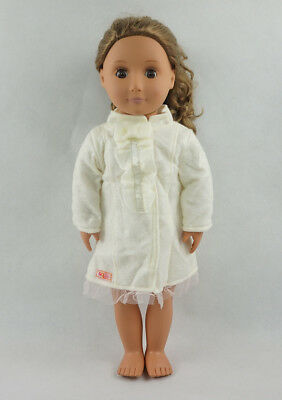 Fit For 18/'/' American Girl White Mini Dress Long Sleeve Fall Autumn Doll Clothes