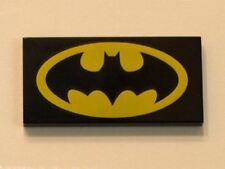 LEGO Batman - Tile 2 x 4 with Batman Logo Oval Pattern - Black
