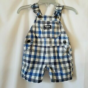 OshKosh B'Gosh Baby Boy 3 Months Blue Plaid Cotton Short Overalls 3M