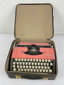 Vtg Olympia Western Germany Pink and Grey Travel Typewriter